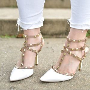 BCBG White Studded Heels